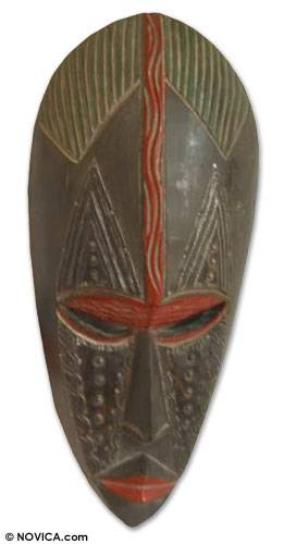 Akan wood mask, 'I Appreciate You' - Akan Wood Mask