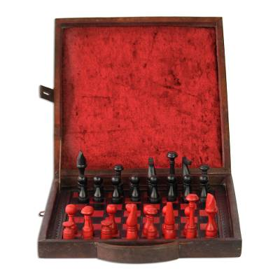 Wood and leather chess set, 'To Victory' - Wood and leather chess set