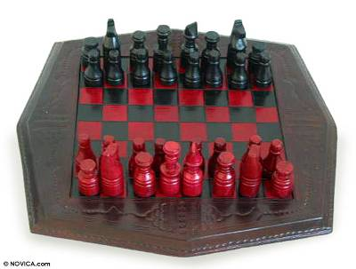 Wood and leather chess set, 'African Battle' - Wood and leather chess set