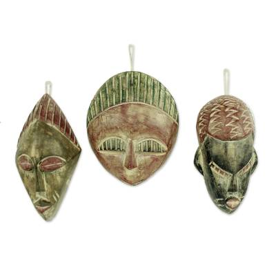 African Wood Christmas Ornaments (Set of 3)