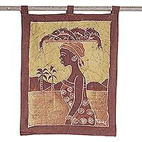 Batik wall hanging, 'Fish Merchant' - African Batik Wall Hanging