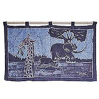 Batik wall hanging, 'Roaming Free' - Batik wall hanging