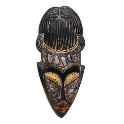 Fair Trade Brown and Black Wood Wall Mask with Brass Accents