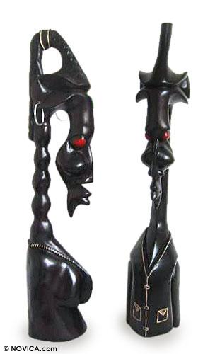Wood sculptures (Pair)