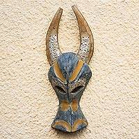 Ashanti wood mask, 'Brave Buffalo' - Unique West African Mask