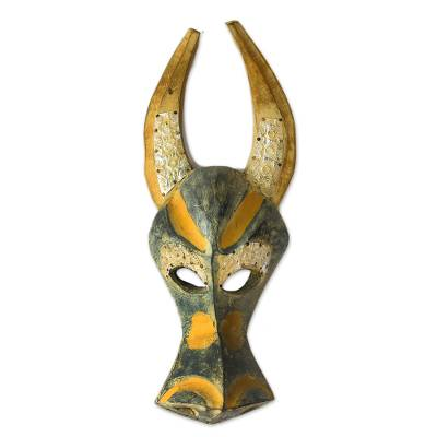 Ashanti wood mask, 'Brave Buffalo' - Ahanti Wood Mask