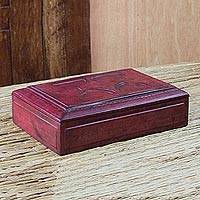 Wood and leather jewelry box, 'African Star' - Wood and leather jewelry box
