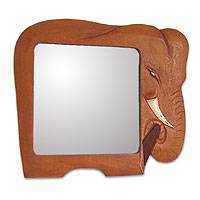 Cedar mirror, 'African Elephant' - Handcrafted West African Elephant Wood Mirror