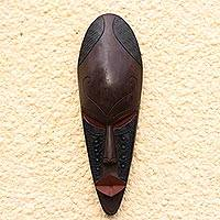 Ghanaian wood mask, 'Without Fear' - African wood mask