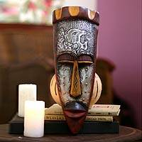 Ghanaian wood mask, 'Executioner' - African Hand Crafted Wooden Tribal Mask