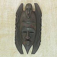 Akan wood mask, 'Counsel' - Akan wood mask