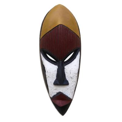Fair Trade White and Red Hand Carved African Wood Mask