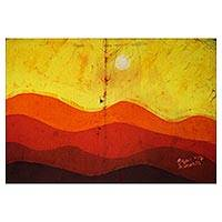 Batik art, 'Evening Light' - African Cotton Batik Art of Sunset Scene from Ghana