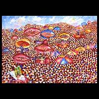 'At the Durbar' - Landscape Expressionist Painting