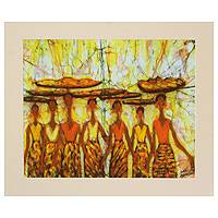 Batik art, 'Brisk Business' - Unique Batik Cotton Wall Art from Africa