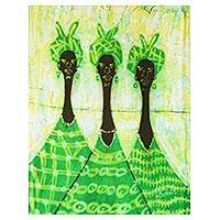 Batik art, 'Queens of the Market' - Handcrafted African Batik Cotton Wall Art
