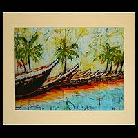 Batik art, 'Fishing Canoes' - Batik art