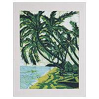 Batik art, 'At Kokrobite Beach' - Artisan Crafted Batik Wall Art