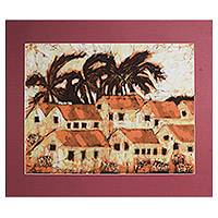 Batik art, 'View of Kumasi' - Batik art