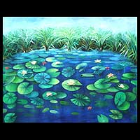 'Water Lilies' (2004) - Acrylic African Painting