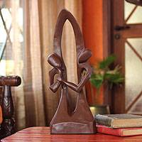 Wood sculpture, 'Stop Thinking' - Original Wood Sculpture Hand Carved in West Africa