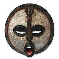 Akan wood mask, 'Power' - Hand Made Wood Wall Mask