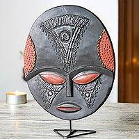 Akan wood mask, 'Wednesday's Girl' - Hand Made African Mask on Stand