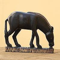 Wood sculpture, 'African Horse' - Wood sculpture