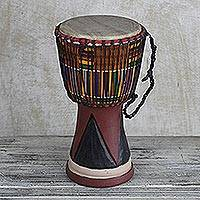 Wood djembe drum, 'From the Past' - African Wood Djembe Drum