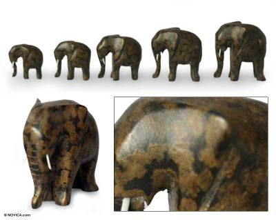 Wood sculptures, 'African Elephants' (set of 5) - Wood Elephant Sculpture (Set of 5)