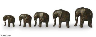 Wood Elephant Sculpture (Set of 5)