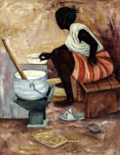 'Supper Preparation' - African Realist Painting