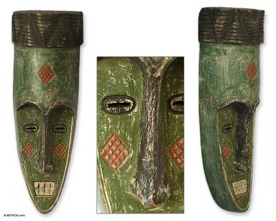 Ghanaian wood mask, 'Great One' - African wood mask