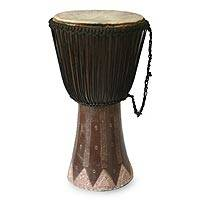Wood djembe drum, 'Majestic' - Wood djembe drum