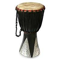 Wood djembe drum, 'Good Soul' - Hand Made Wood Djembe Drum