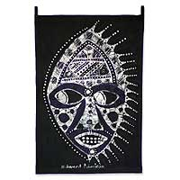 Batik wall hanging, 'The King's Mask' - Batik wall hanging