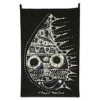 Batik wall hanging, 'Queen Mask' - Batik wall hanging