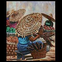 'Sunny Day Market' - Market Scene Painting from Africa
