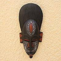 Ghanaian wood mask, 'In Silence' - Handcrafted African Wood Mask
