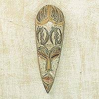 Ghanaian wood mask, 'Good Fortune' - Hand Crafted Sese Wood Mask