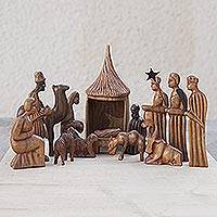 Wood nativity scene Jesus and the African Kings 14 pieces Ghana