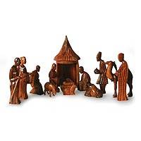 Wood nativity scene, 'Jesus and the African Kings' (14 pieces) - Wood nativity scene (14 Pieces)