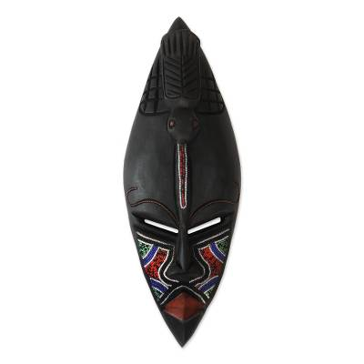 Fair Trade Multicolor Sese Wood Glass Beaded Mask from Ghana