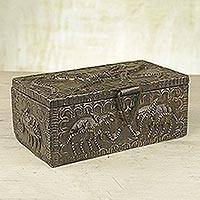 Wood jewelry box, 'Zongo Chief' - Hand Crafted Wood Jewelry Box