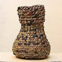 Recycled newspaper vase, 'Blossom Post' - Recycled newspaper vase