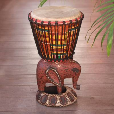 Wood djembe drum, African Elephant