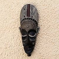Ashanti wood mask, 'Spell Breaker' - Ashanti Wood Mask