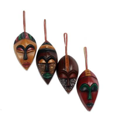 African Wood Christmas Ornaments (Set of 4)