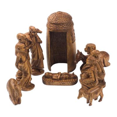 Mahogany Wood Nativity Scene (Set of 11)