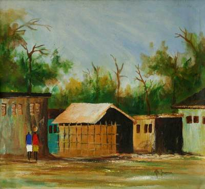 'Ada Village' - Original Oil Painting